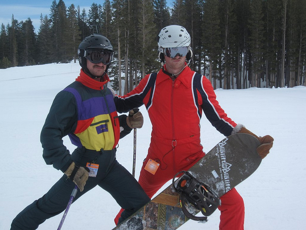Rob Webb and Evan Reece rock the vintage gear on the slopes.